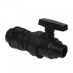 PP compression fittings black color pp single union double union ball valve