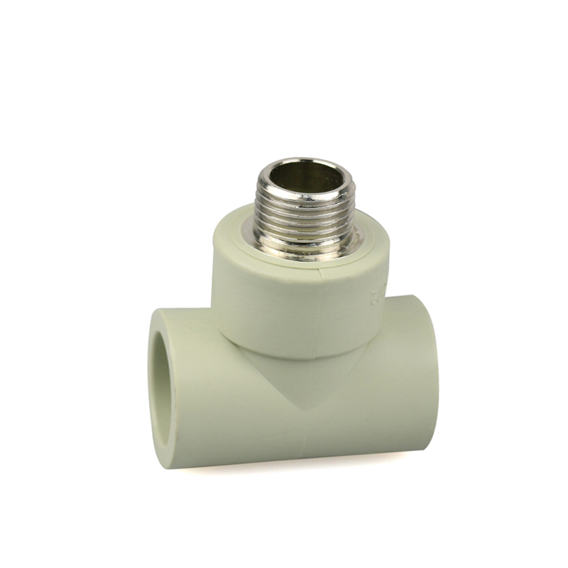 Grey color PPR fittings tee with brass insert