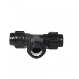 PP compression fittings black color equal tee