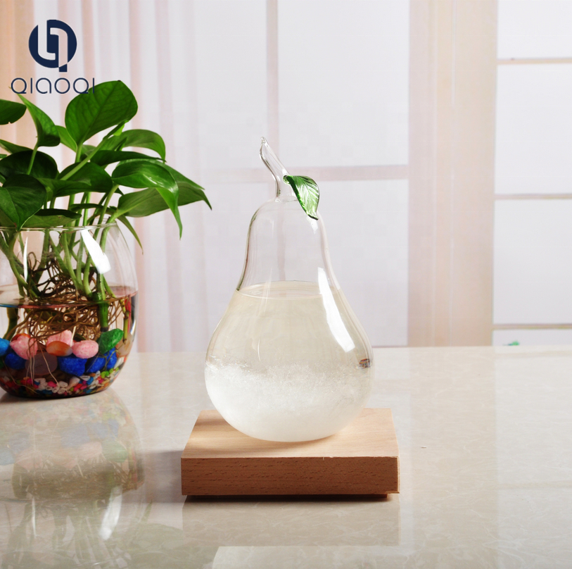 New Design Pear Shape Glass Weather Predictable Forecast Liquid Colored Fitzroy Storm Glass For Promotional