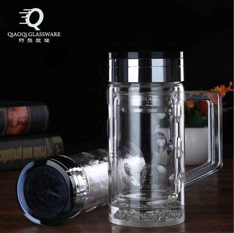 High Borosilicate Glass double wall glass drinking water bottle