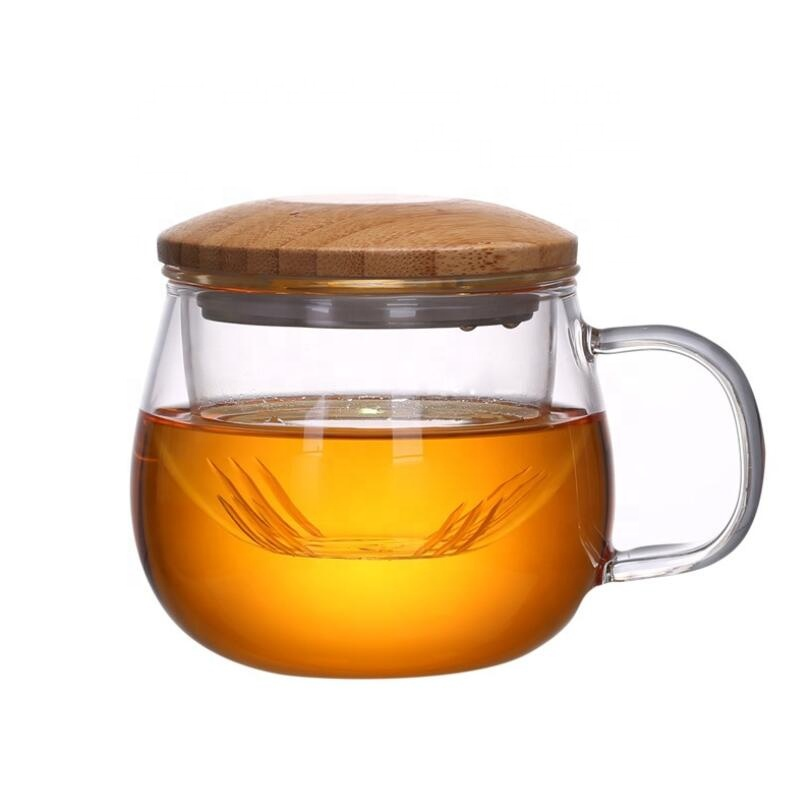 High temperature resistant office filter tea water separation household three piece glass tea cup mug sets with bamboo glass lid