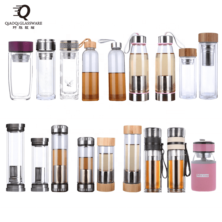 material high borosilicate clear double wall drinking water glass bottle with wooden lid