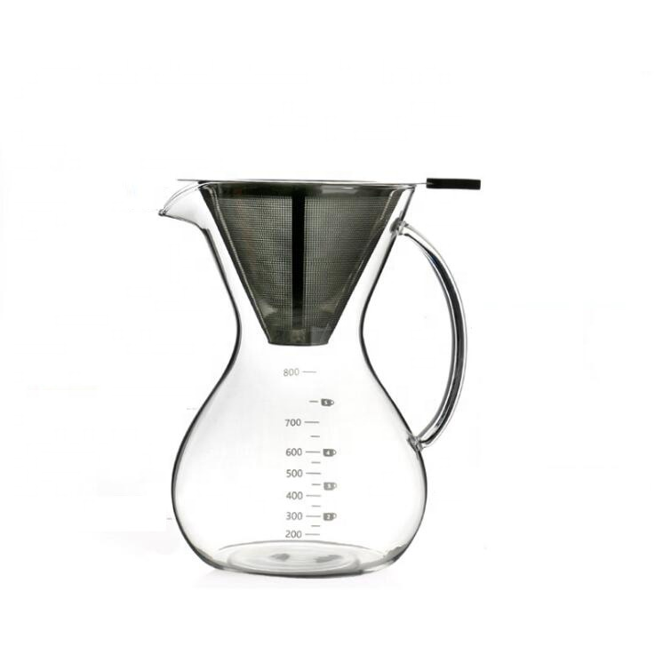 Hot sell high borosilicate glass coffee pot pour over coffee maker coffee pour over glass