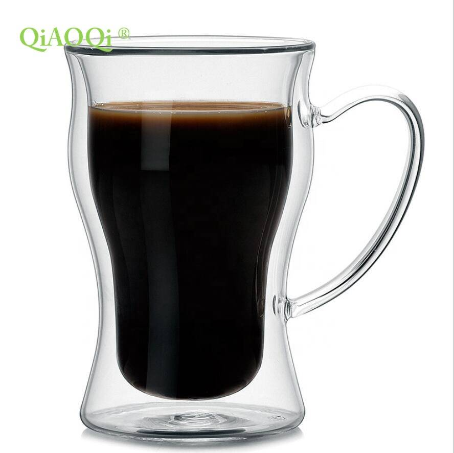 OEM/ODM Supplier Round Glass Teapot - Home kitchen high borosilicate glass coffee double wall glass cup for Drinking coffee – Qiaoqi