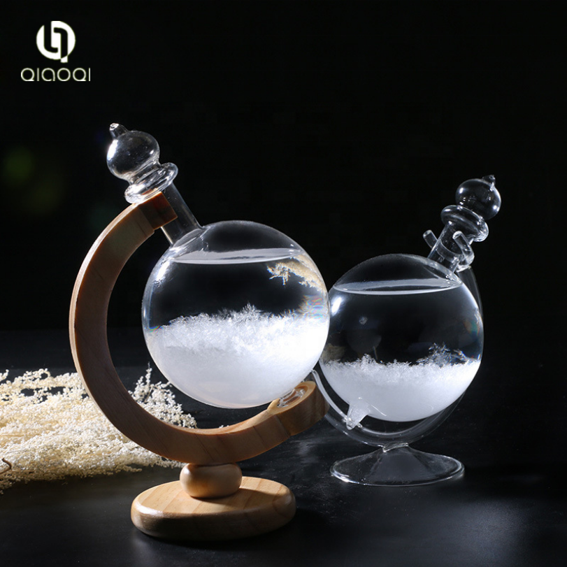 The Globe Shape  Weather Forecast Bottle Best Gift Storm Glass Bottles Barometer With Wood Base
