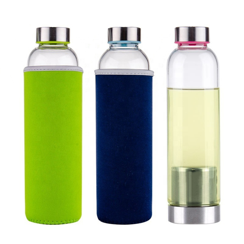 Custom Reusable Wholesale ECO Friendly Borosilicate Glass Tea Infuser Water Bottle
