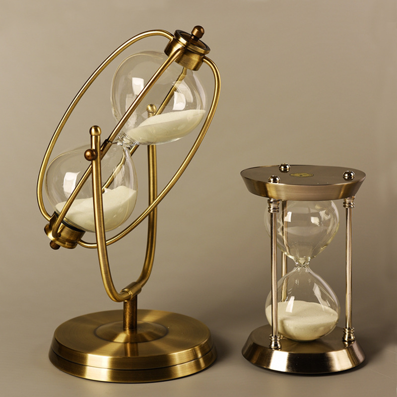 Wholesale Craft Gift Antique Metal 1 Hour  60mins Hourglass Sand Timer Sand Clock
