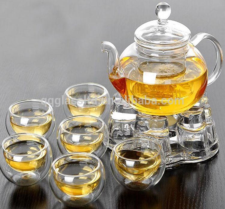 High Quality Borosilicate Home Kitchen Transparent Pyrex Heat Resistant Glass Tea Pot Set