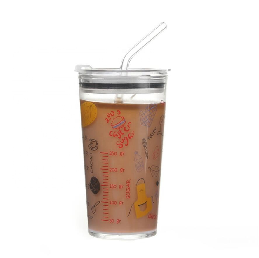 Glass Milk Cup with Straw and Glass Lid Wholesale Custom Logo Glass Cup