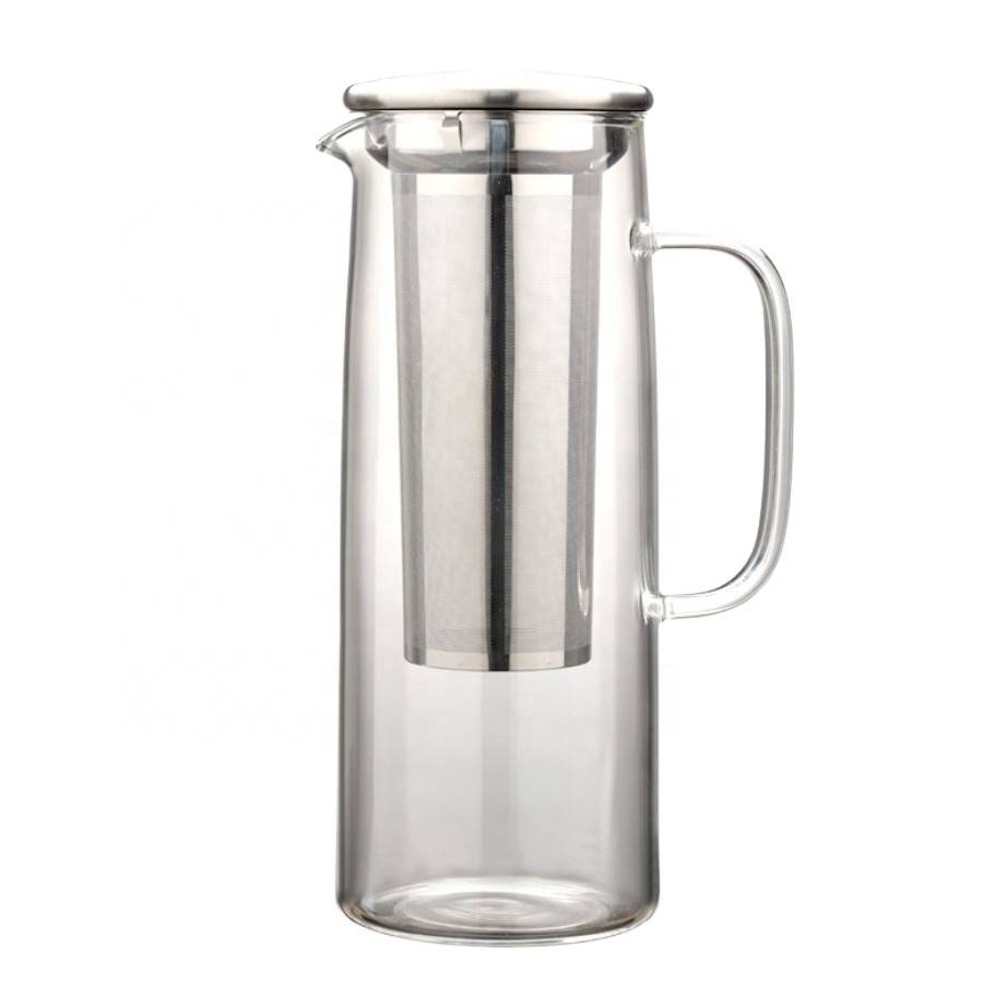 wholesale high borosilicate glass cold coffee maker steel filter with handle