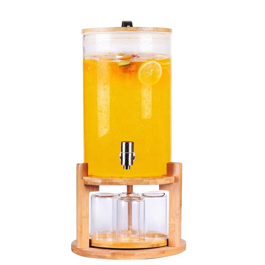 HIgh quality borosilicate glass new style glass wine bottle with faucet with rotating wooden base with glass cup