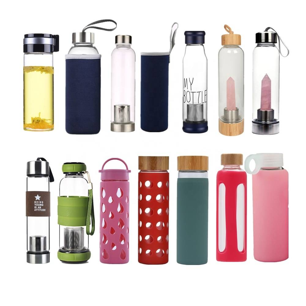Wholesale BPA Free 550ml High Quality Printed Borosilicate Glass Water Bottle With Stainless Steel Lid