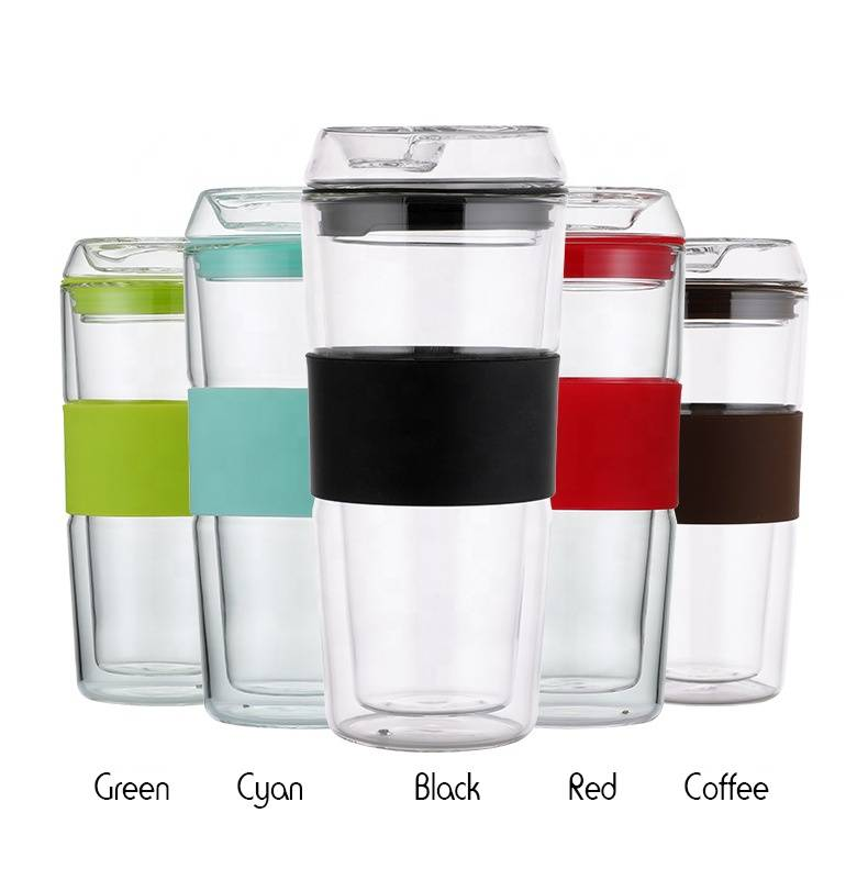 400ml Borosilicate Hot sale custom Reusable Glass Coffee Cup with Lid Double wall Glass coffee travel Mug