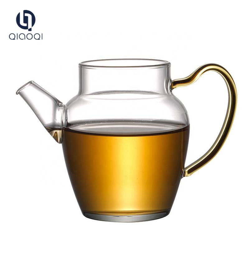 hot sales high borosilicate clear glass tea cups with handle