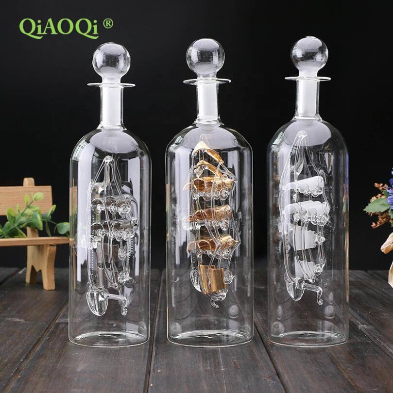 Creative Business Gift Blown Handicraft Glass Sailing Vessel Floating Bottle Mini ship in a bottle souvenir