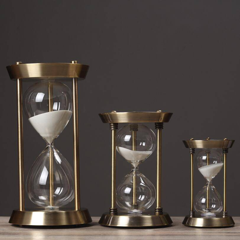Wholesale Craft Gift Large Antique Metal Frame Brass Hourglass Sand Timer Sand Clock