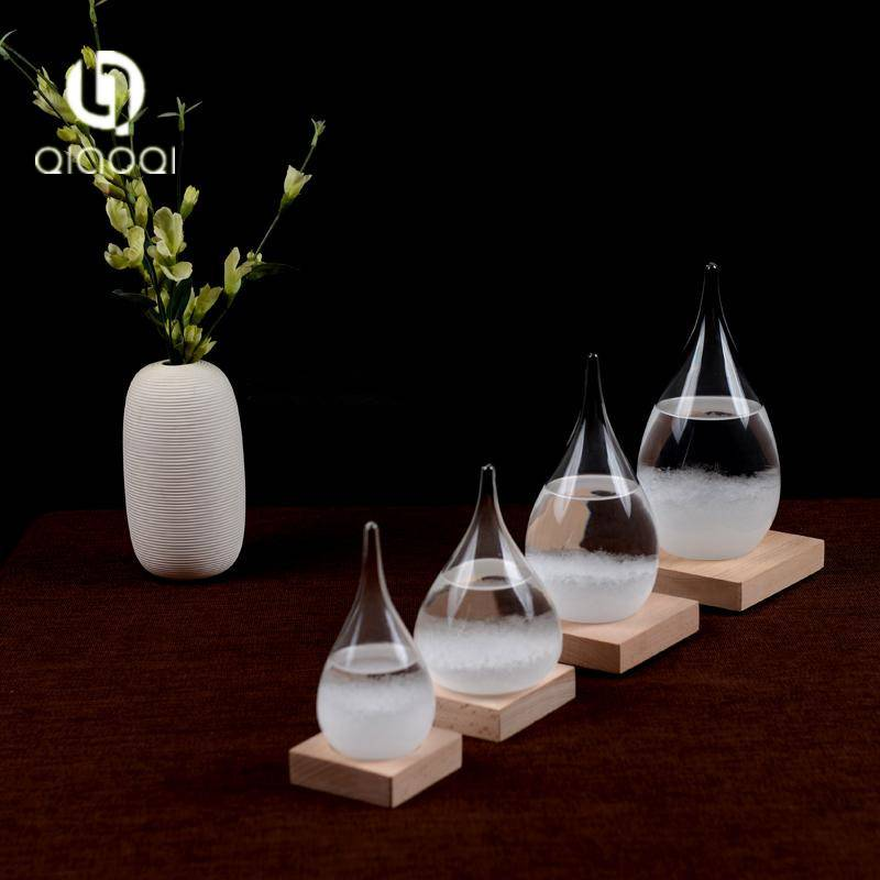 Creative Stylish Desktop Droplet Storm Glass Barometer Crafts Storm Glass Weather Forecast Bottle