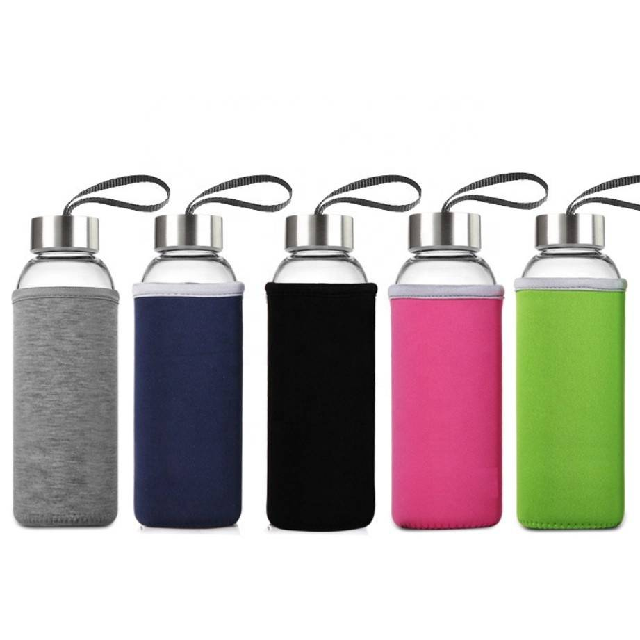 Wholesale custom fashion 350ml 500ml reusable glass water bottle