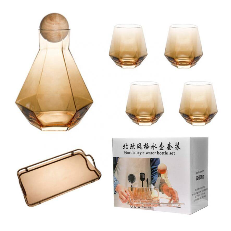 Wholesale Cheap Large Restaurant Water Drinking Juice Crystal Glass Carafe Jugs And Glasses Set Featured Image