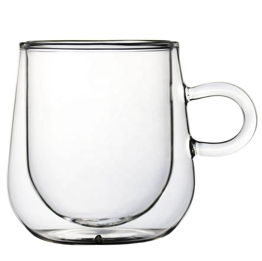 double wall glass cup high borosilicate coffee or tea glass set with Handle