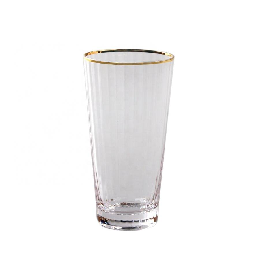 Wholesale hot sale high borosilicate glass water cup with gold rim