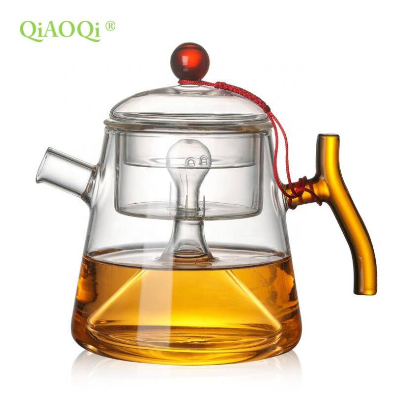 new design flower blooming tea glass teapot with glass lid