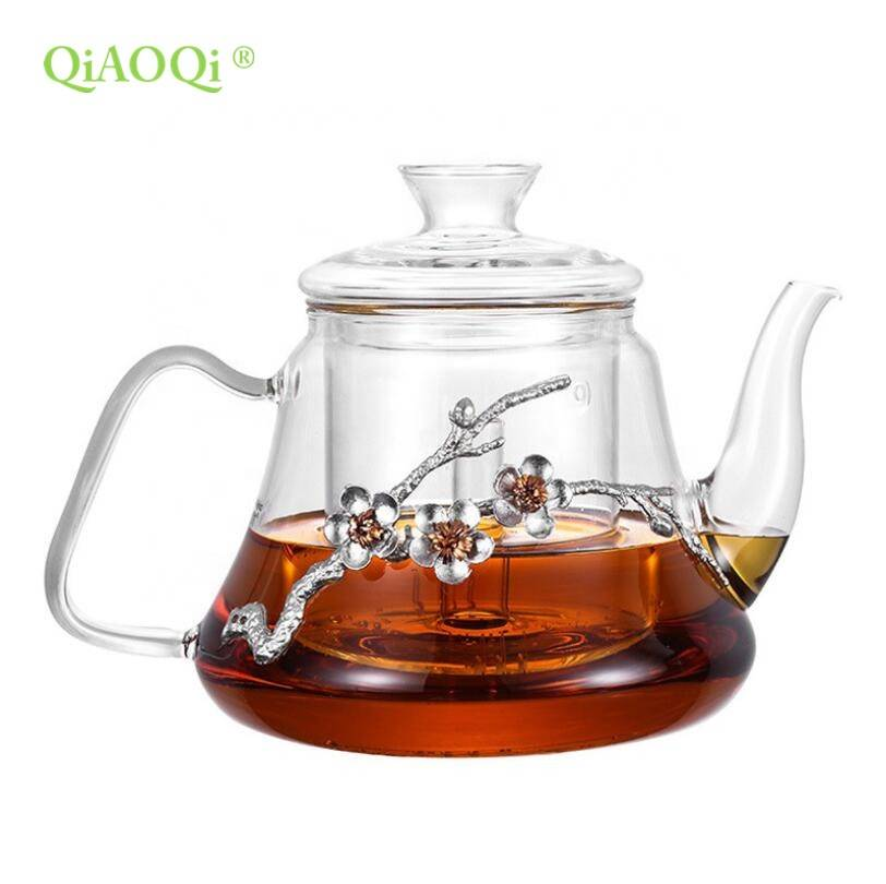 1200ml clear glass cooking pot with tin flower on glass