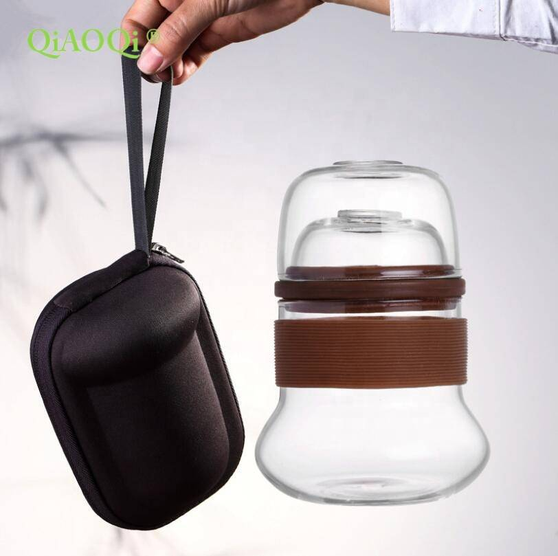 Handmade Heat Resistant Borosilicate Glass Portable Travel Teapot Set