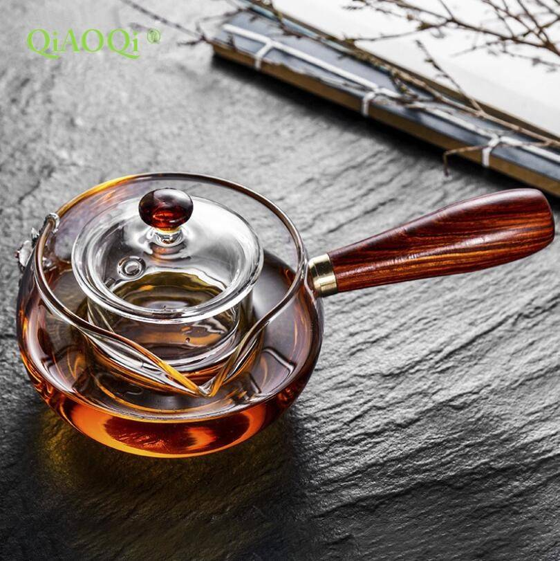 Fire heating glass teapot Boil tea ware with wooden handle