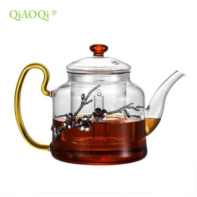 big size transparent clear pyrex glass cooking pot with color handle
