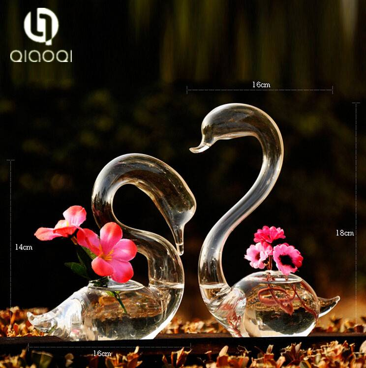 2pcs Loving Swans Flower Watering Plants Glass Vase