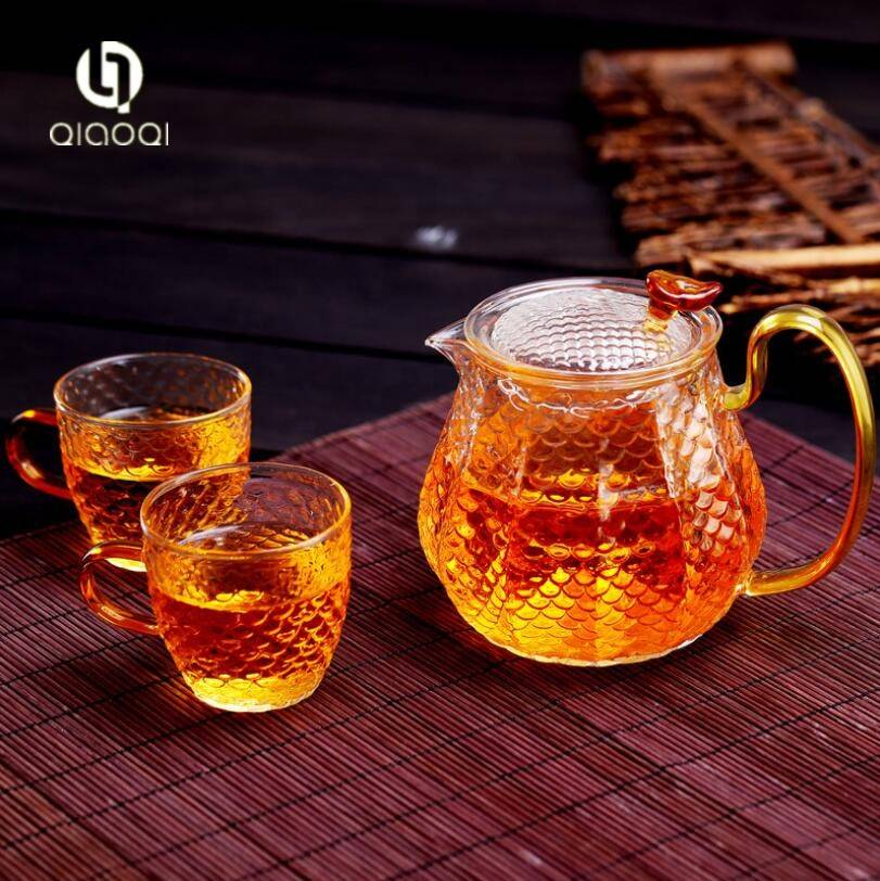 500ml blooming flower tea pot glass teapot set with warmer