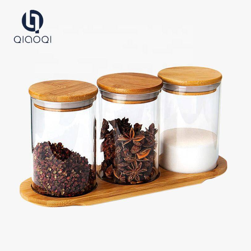 Spice jar with bamboo lid and spoon 3pcs glass spice jar sets