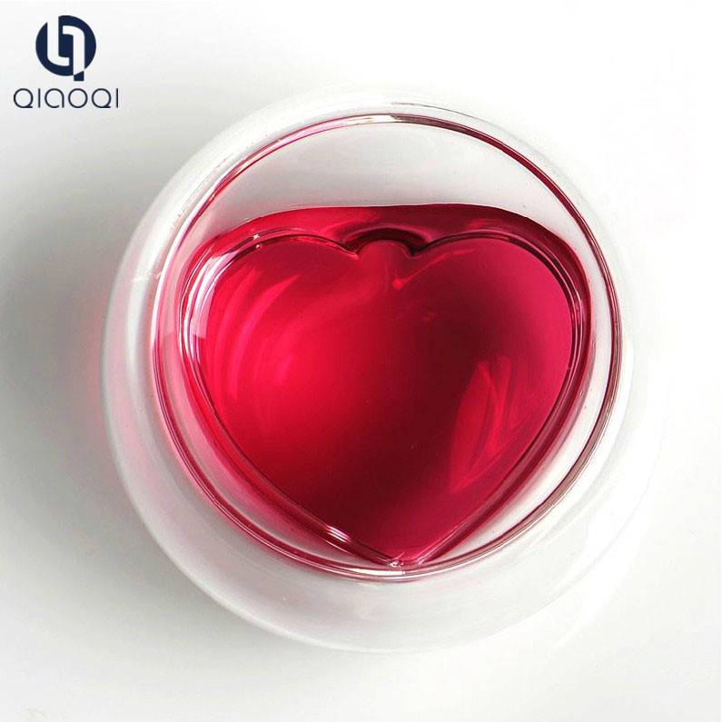 Heart shaped heat resistant glass cup