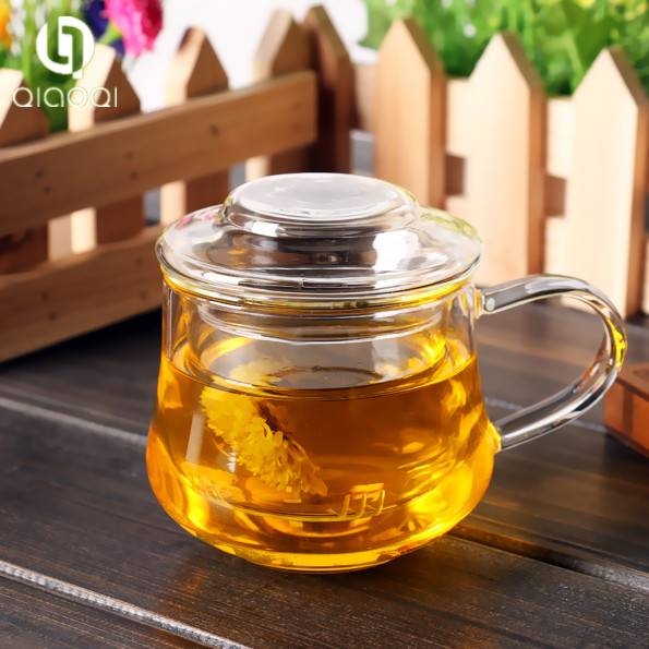 Glass Tea Cup Mug Set with Lid and Infuser Heat-resistant Glass Teapot Water Bottle
