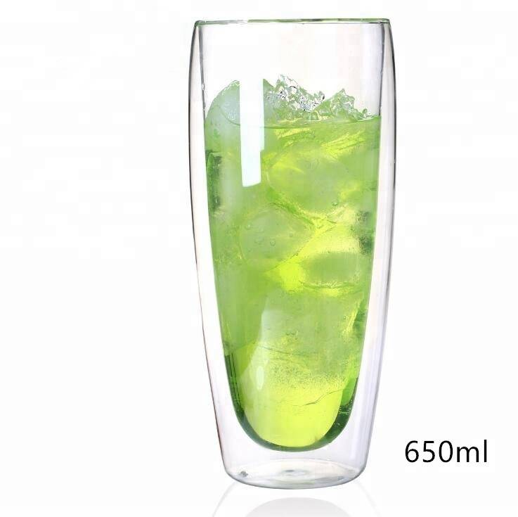 Egg shape double wall glass tea cup coffee cup