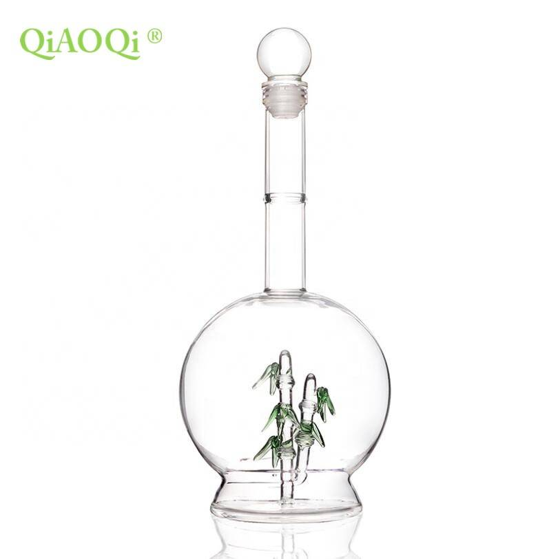 QiAOQi 500ml Manufacturers creative high borosilicate glass wine bottles with bamboo inside