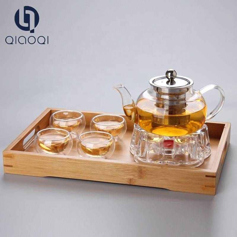 Stovetop Safe tea set 600ml Borosilicate Glass square Teapot with Stainless Steel Infuser