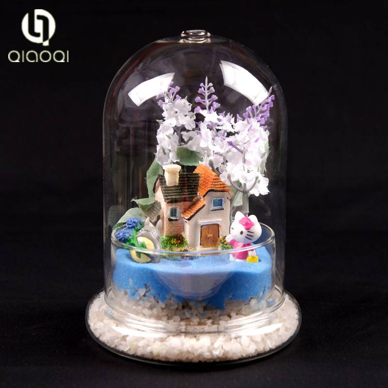 decorative flower glass dome with base set