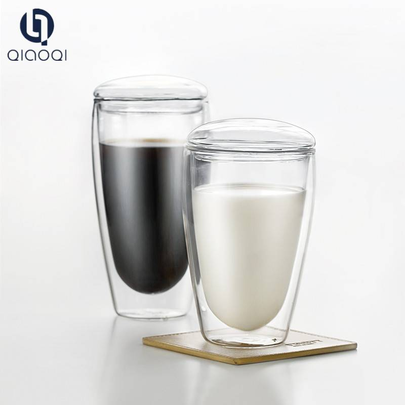 Promotional Heat Resistant Coffee Double Wall Glass Cup With Lid