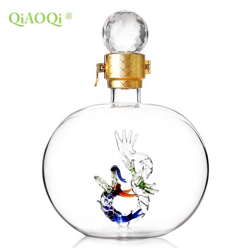 QiAOQi China Manufacturer Hot Sale Mouth Blown 1000ml Glass Spirits Bottles
