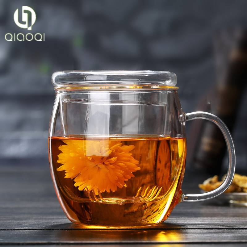 17oz Borosilicate Glass Teacup with Glass Lid and Infuser