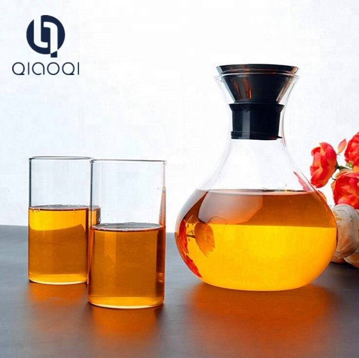 High Borosilicate Handmade Home Promotion 1000ml Glass Cold Water Fruit Juice Pot Crafe Jug