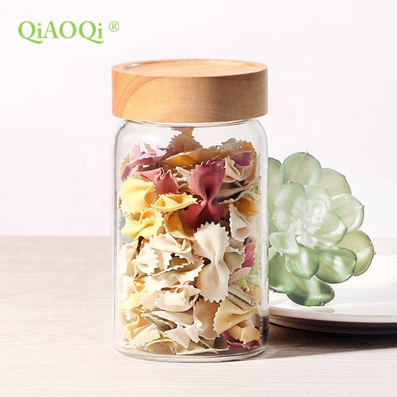 QiAOQi Food Grade Large Heat Resistant Sealing Glass Food Jar Storage Bottles Jars
