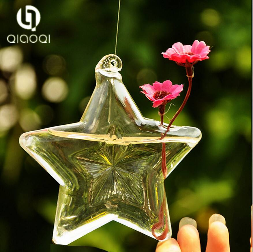 Lucky star shape glass crystal vase