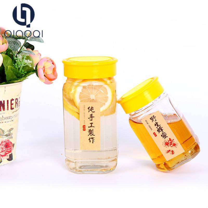 wide mouth round 500ml 1000ml transparent glass bee honey bottles