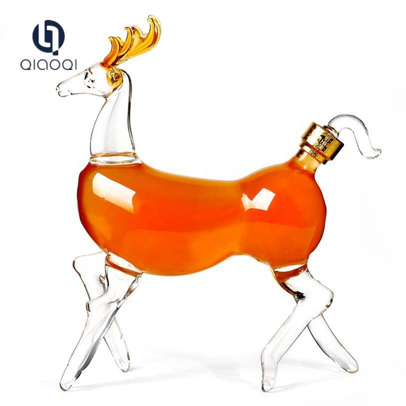 Low MOQ for Small Glass Tea Cups - Animal Deer shape hand made glass wine bottle – Qiaoqi