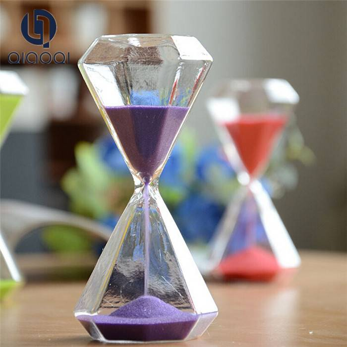 Diamond shape colorful sand hourglass timer