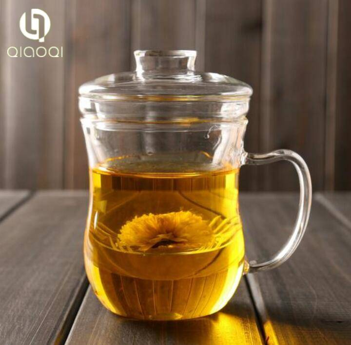 Bottom Price Various Market glass flower tea cup 350ml